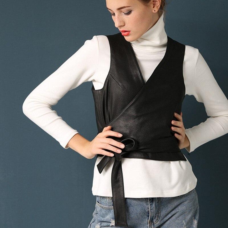 Diseñador italiano elegante Belted Slim Fit V cuello chaleco mujeres pantalón corto casual Wasitcoat prendas de vestir abrigo chaqueta de cuero ovino genuino