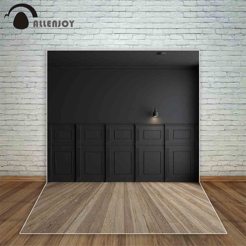 Allenjoy clásico interior negro pared de madera piso Lámpara antigua foto de fondo cámara fotográfica Fondo retrato puerta