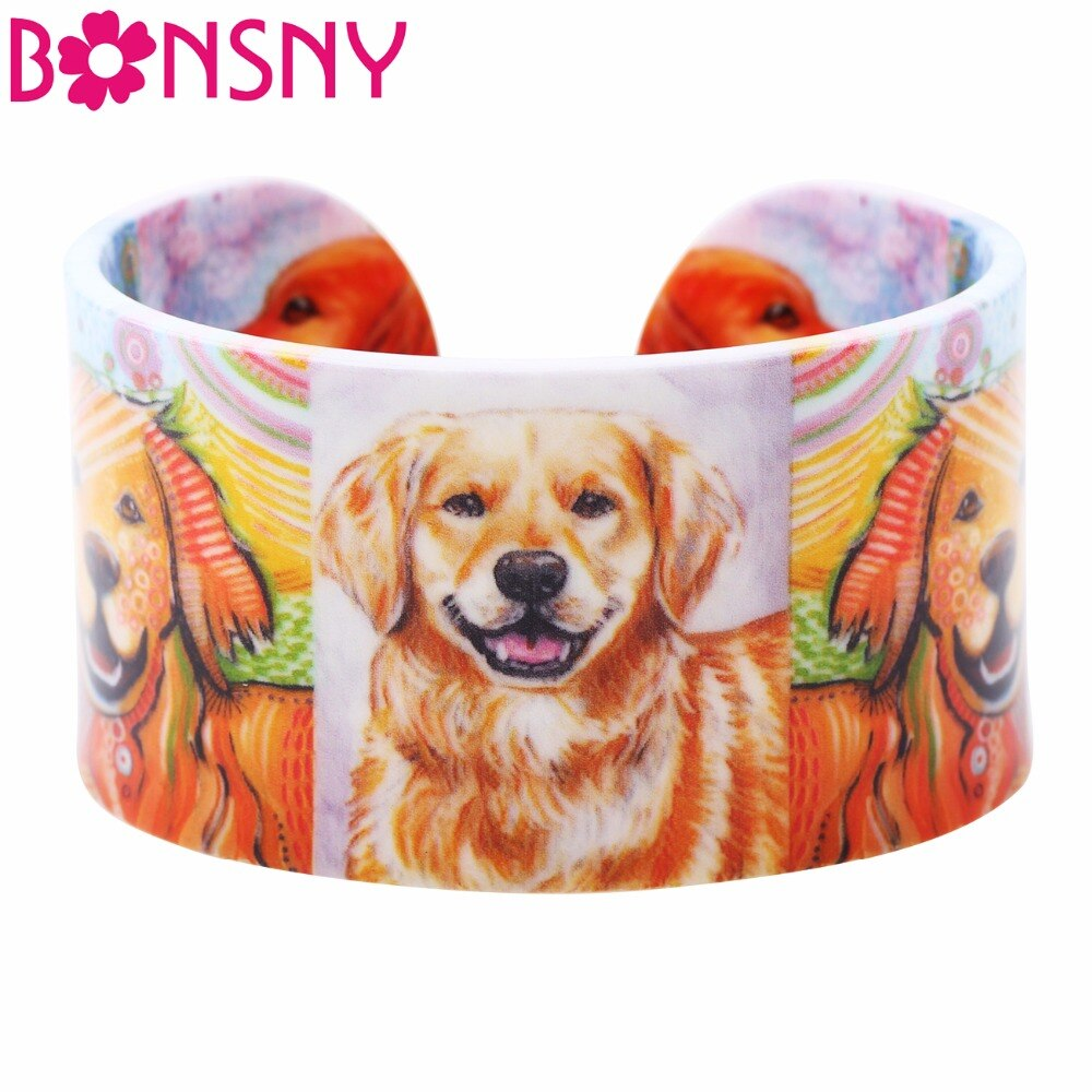 Bonsny acrílico ancho amor Golden Retriever brazaletes pulsera Animal joyería para mujeres 2017 nuevos accesorios para niñas Primavera Verano