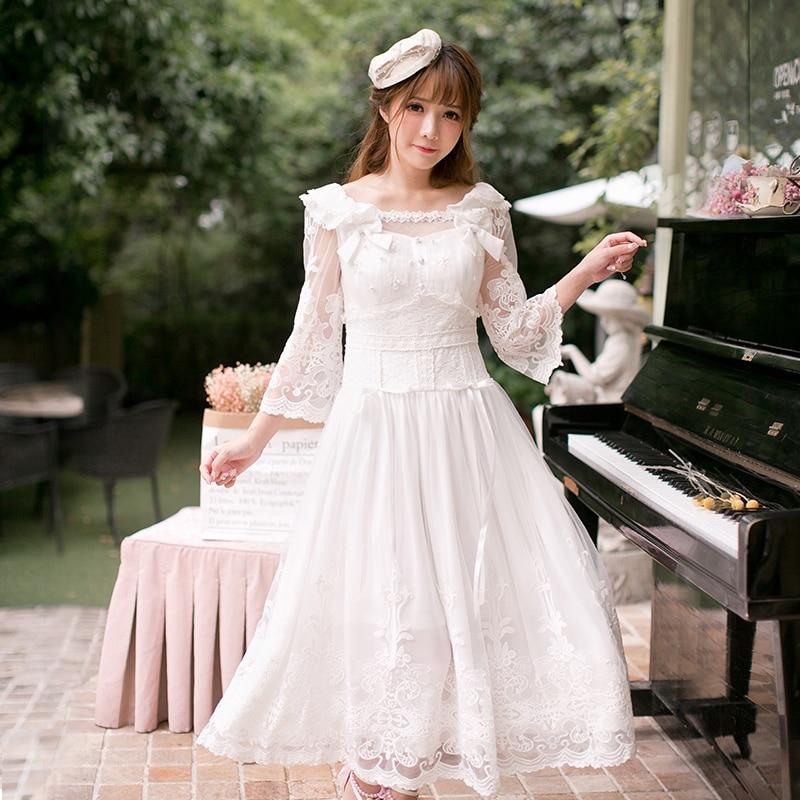 Princesa adorable Vestido de lolita Candy vestido para la lluvia de encaje, dulce ajustado color puro hasta el tobillo, otoño A-Line vestido elegante C22CD7170