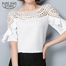 2019 Summer Women Lace Hollow Out Chiffon Blouse Korean Style Fashion Plus Size Shirt Short Sleeved Casual Chiffon Tops 960G 30
