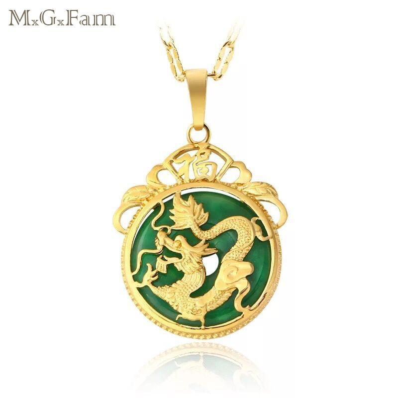M.G.Fam Китайский древний талисман дракон кулон ожерелье Чистый золотой цвет AAA + зеленые Стразы с цепочкой 45 см