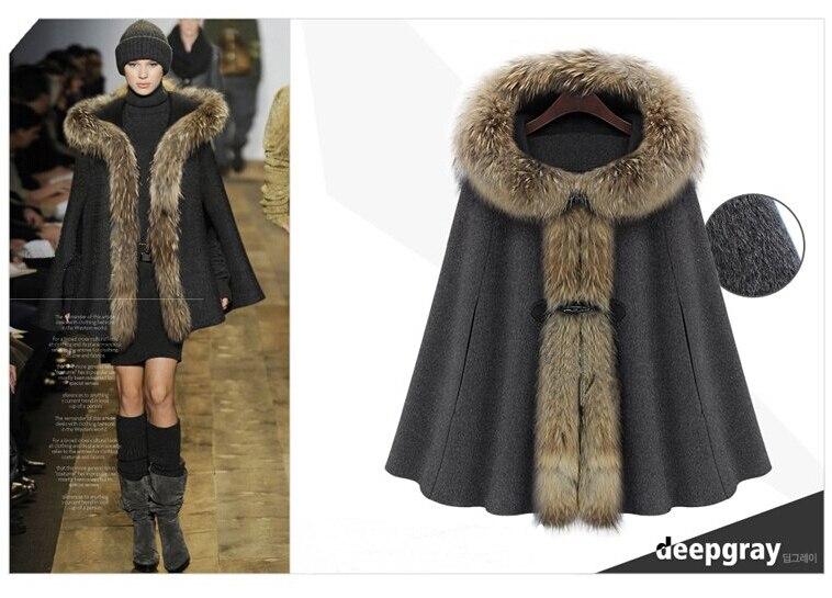 Chaqueta de Abrigo con capucha de piel sintética grande a la moda de Invierno para mujer, manto de lana de lujo gris y Camel