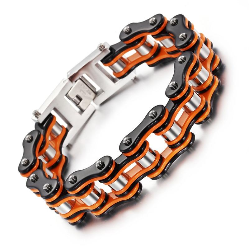 Pulsera de bicicleta de acero inoxidable naranja, cadena de motocicleta alternativa para hombre, bicicleta de acero titanio