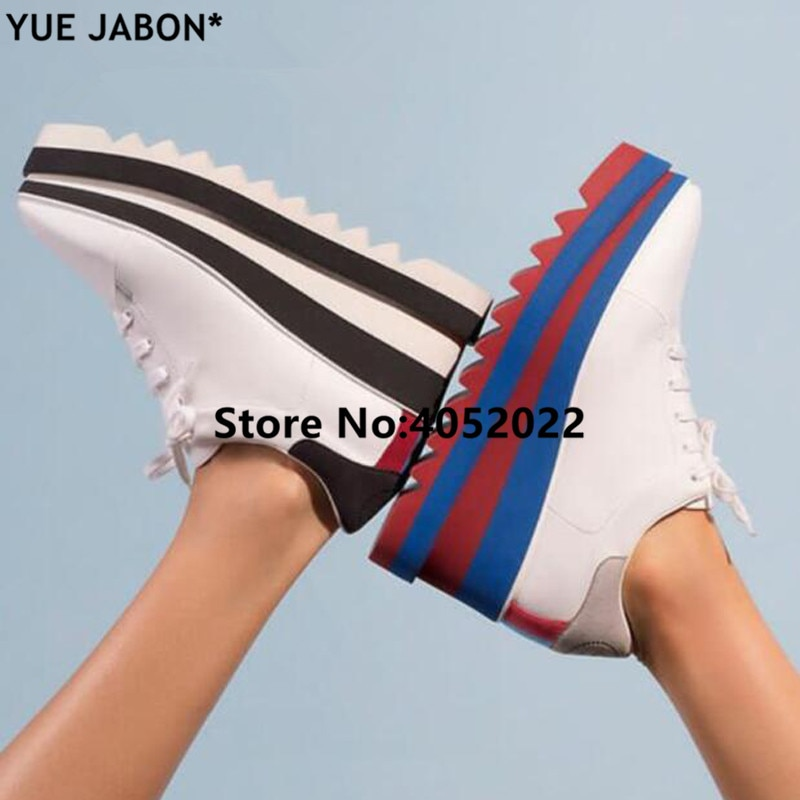 YUE JABON-حذاء رياضي نسائي مخطط ملون ، حذاء رياضي مسطح بنعل نجمة ، منصة غير رسمية سميكة القاع ، أحذية بمقدمة مربعة