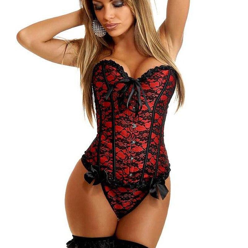 Sexy dessous Frauen steampunk gothic Plus Größe S-6XL Korsetts Lace Up ohne knochen Overbust Bustier Taille Cincher Körper shaper mieder