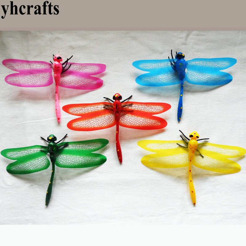 25 unids/lote 3D dragonfly imán de nevera simulación de insecto ornamento para ventana de la puerta al por mayor ornamento del hogar manualidades de Pascua de primavera OEM