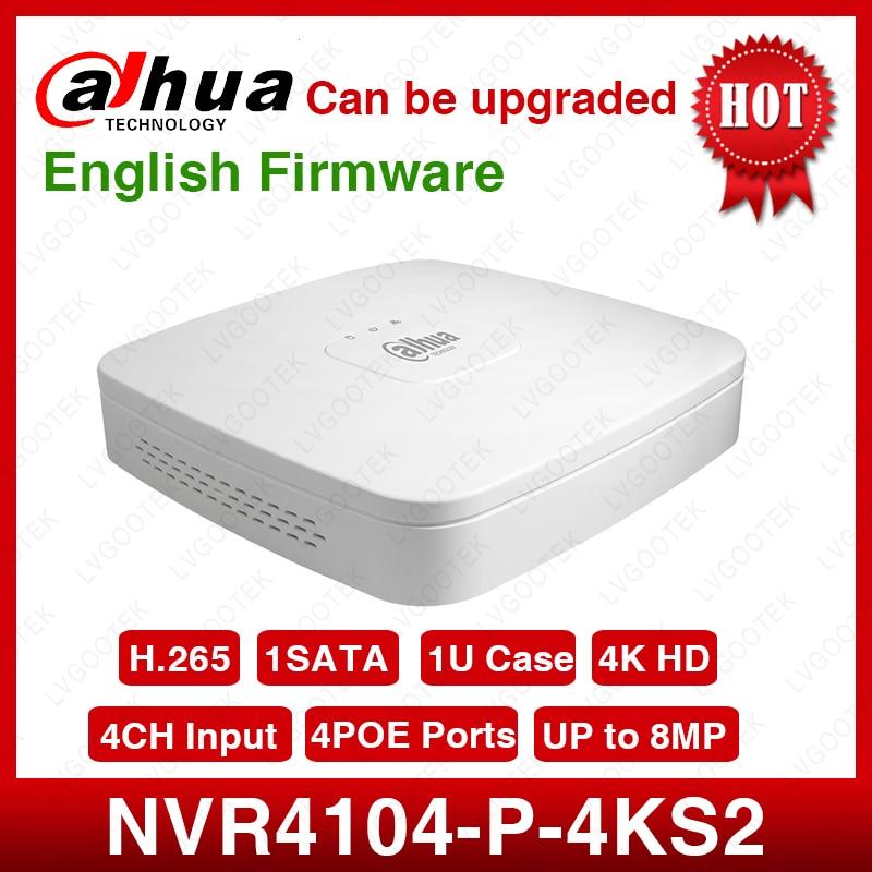 Dahua NVR NVR4104-P-4kS2 4CH NVR 8MP inteligente 1U 4PoE 4K y H.265 Lite red grabadora de Video Full HD 1080P con 1SATA