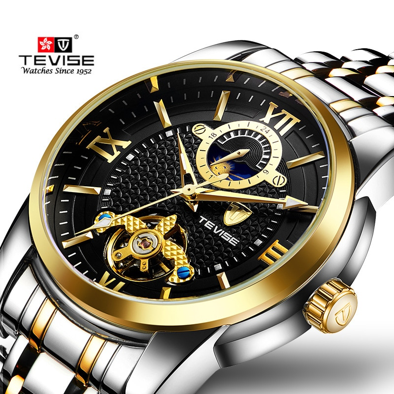 Tevise Luxury Fashion Brand Mechanical Watch Man Automatic Moon phase Gold Watches Casual Waterproof