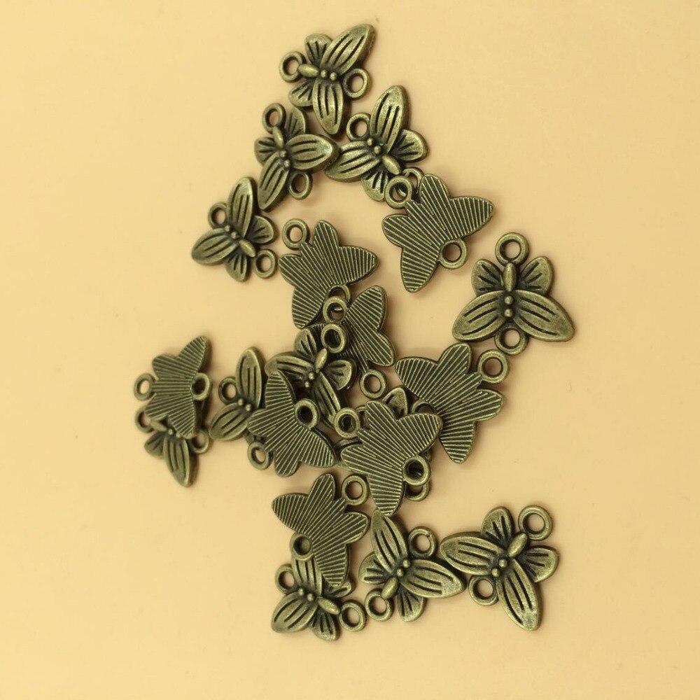Conectores de colgantes de mariposa, colgantes de dijes de bronce compatibles con joyería DIY 14x15mm 30 Uds. Por lote (T366) 2015, nuevo envío gratis