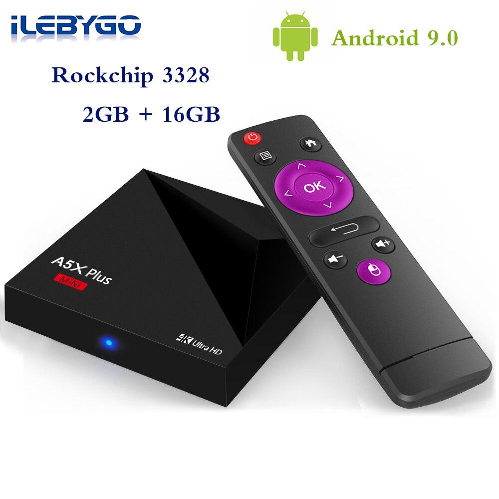 Ilebygo A5X ALÉM DISSO Android 9.0 Caixa de TV 4 K Mini Smart Set Top Box 2 GB GB RK3328 16 Rockchip 2.4G WIFI 100 M PK TX3 X96 Media Player