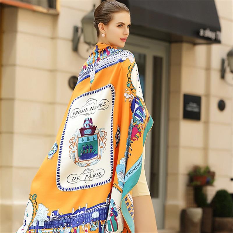 100% Twill Silk Women Scarf Eur Fashion Stroll Paris Print Square Scarves Wraps Headband Brand Gift Large Luxury Shawl Hijab