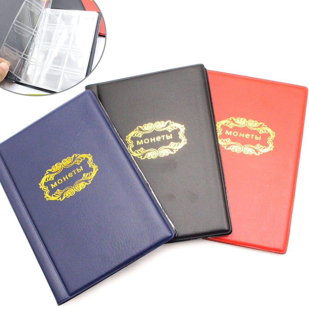 1 unidad cubierta rusa 120 bolsillos colección de monedas álbum de exhibición bolsa de almacenamiento de libros moneda titular caliente
