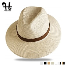 FURTALK قبعة صيفية من القش للرجال النساء الشمس قبعة للشاطئ الرجال الجاز قبعات من الألياف المجدولة فيدورا واسعة حافة قبعة واقية من الشمس مع حزام جلد