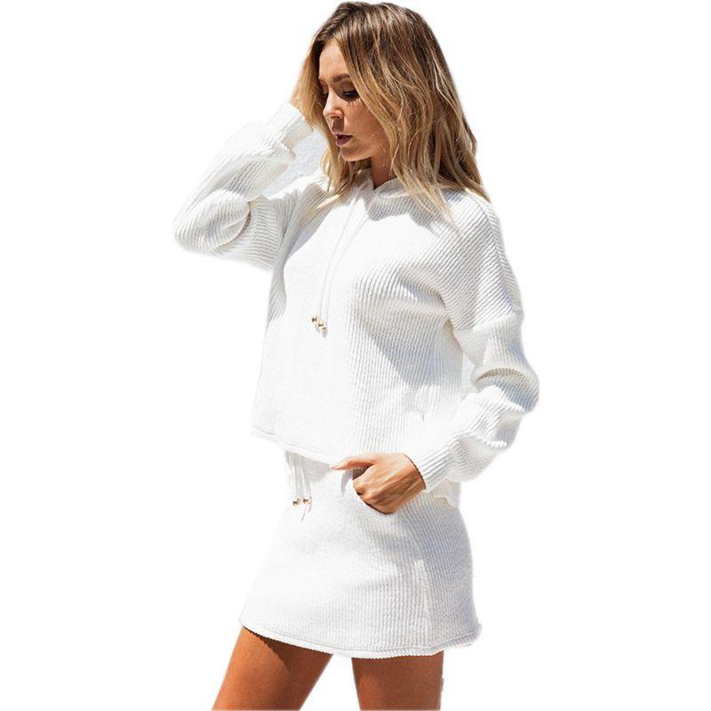 Conjuntos de trajes de falda para Mujer, camisetas con lazo, chándal, moda...