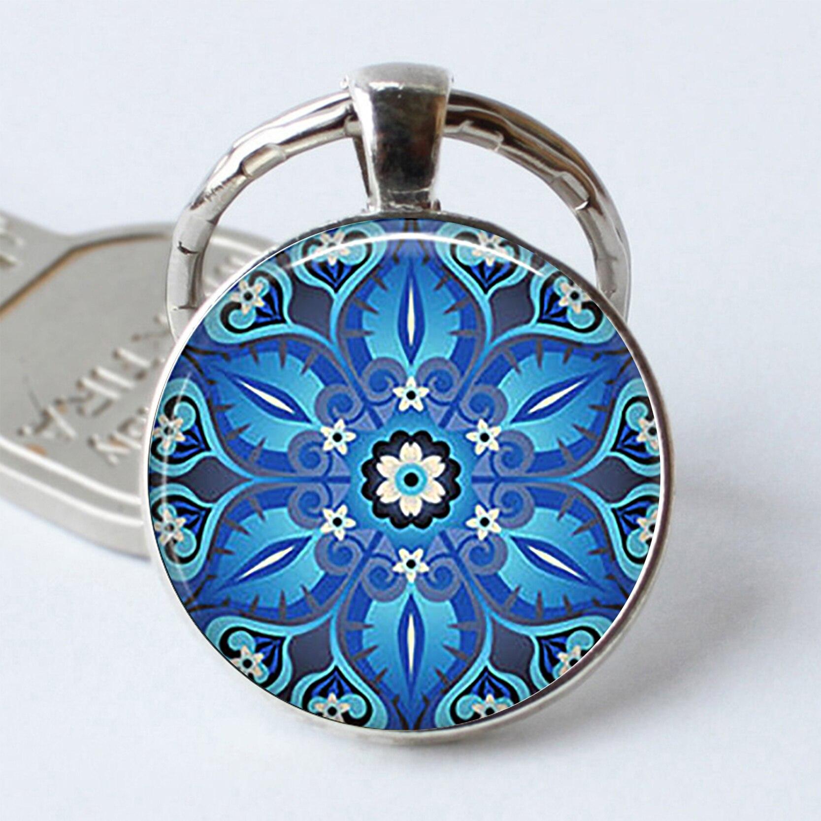 Adornado azul arte Keychainblue marroquí llavero de azulejo marroquí diseño adornado de cabujón de cristal llavero con anilla de moda