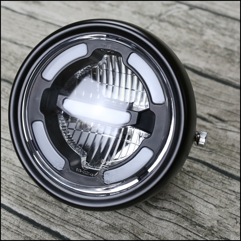 مصباح أمامي عالمي للدراجات النارية ، ضوء النهار ، مصباح مسافة LED وشعاع سفلي ، مصباح أمامي عتيق للدراجات النارية
