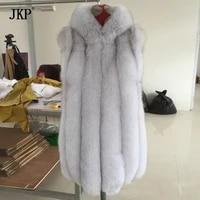 fox fur vest with big fur hood hooded real fox fur coat winter women fur vest