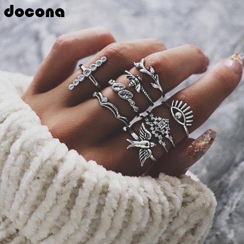 Docona Vintage exagerados Ojo de pavo Cruz pájaro corona anillo Sents para mujeres Crystal Tree Branch Bee bohemio Punk Jewelry5344