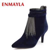 enmayla fashion sexy kitten heels pointed toe ankle boots for women nubukle chain tassel party shoes woman casual boots