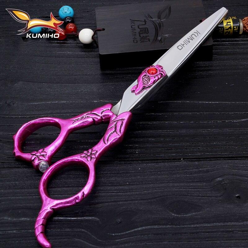 KUMIHO 6 дюймов высококачественные профессиональные ножницы для стрижки волос и Истончение Парикмахерские ножницы необычная дверная ручка