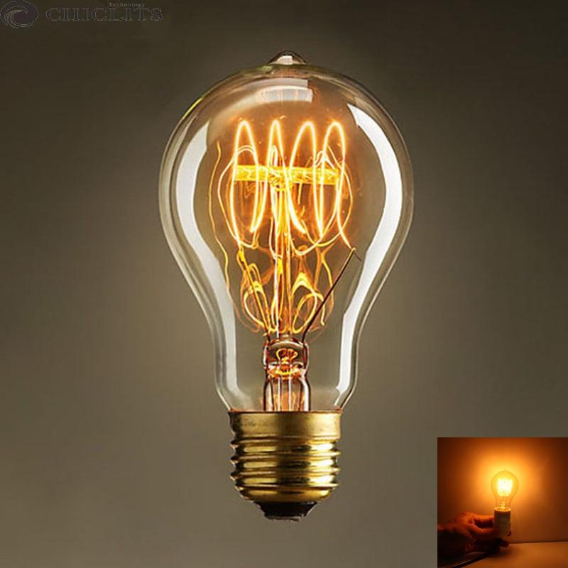 Luces de Navidad Vintage Retro Edison filamento de la lámpara E27 40W 220V incandescente antiguo bulbo caliente amarillo lampas ampolla