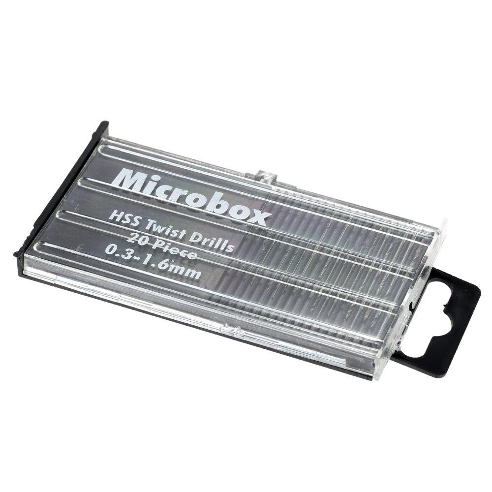 Juego de Mini herramientas eléctricas de acero de alta velocidad HSS, conjunto de puntas de taladro en espiral de 0,3mm-1,6mm, piezas de reparación de caja de 1/4 , vástago 20 unidades