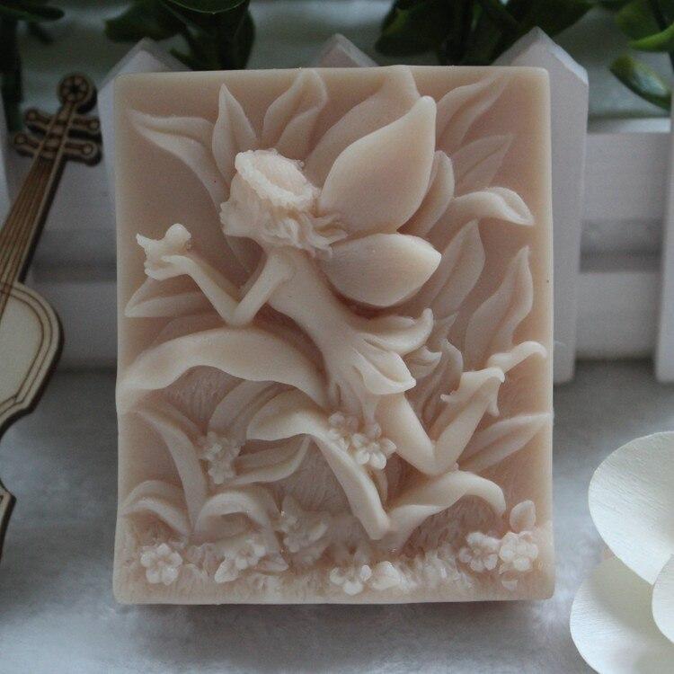 Molde de silicona para jabón, molde hecho a mano para alimentos, Hada de las flores, pájaros en la hierba, DIY, molde de jabones, Aroma Stone Rubber PRZY No.s8008