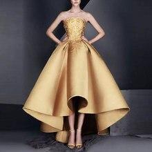 Nouveauté robe de soirée robe formelle de noiva satin robe de soirée de bal robe de soirée dorée sans bretelles haut-bas formelle robe à lacets
