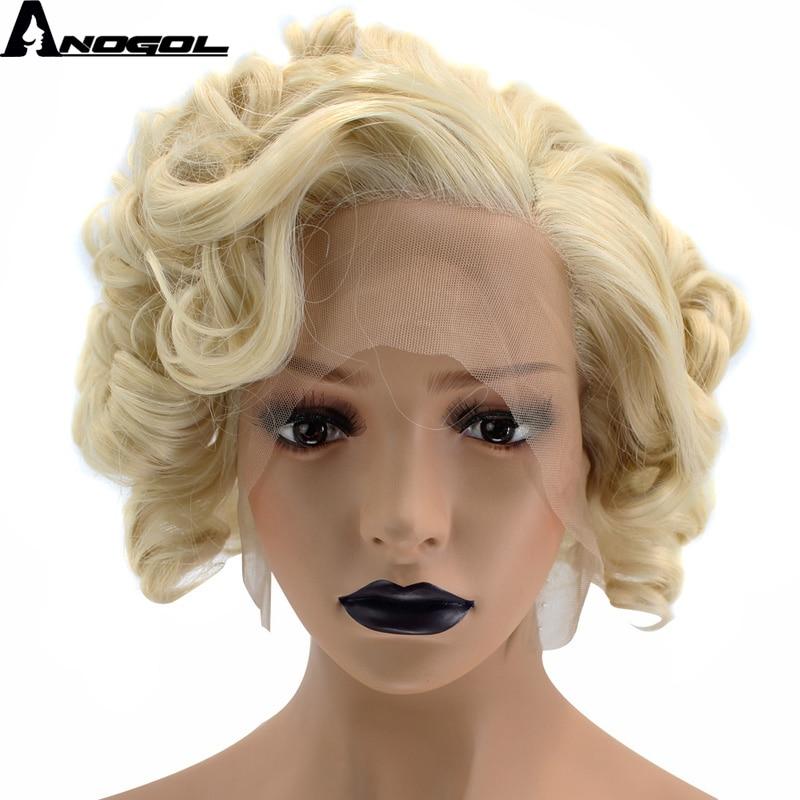 Anogol parte lateral de fibra de alta temperatura curto bob kinky encaracolado loira perucas de cabelo sintético perucas da parte dianteira do laço para mulher drag queen