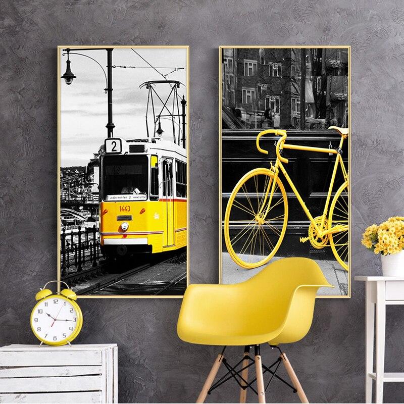 Peinture de toile de Style moderne   Images murales dart de rue, vélo Taxi de New York Bus pour salon, affiches et imprimés, affiche nordique HD