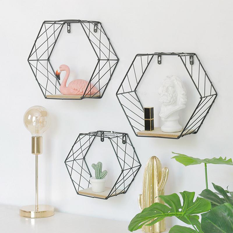 Iron Hexagonal Grid Wall Shelf Combination Wall Hanging Geometric Figure For Wall Decoration  Living Room Bedroom Nordic Rack