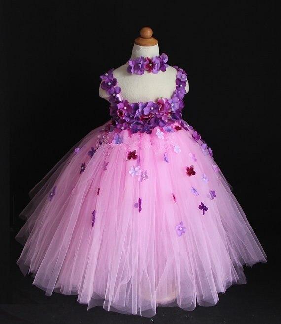 Novas meninas flores de crochê tutu vestido crianças fofo rosa tule tutus vestido de baile com alças de renda e bandana crianças vestidos de festa