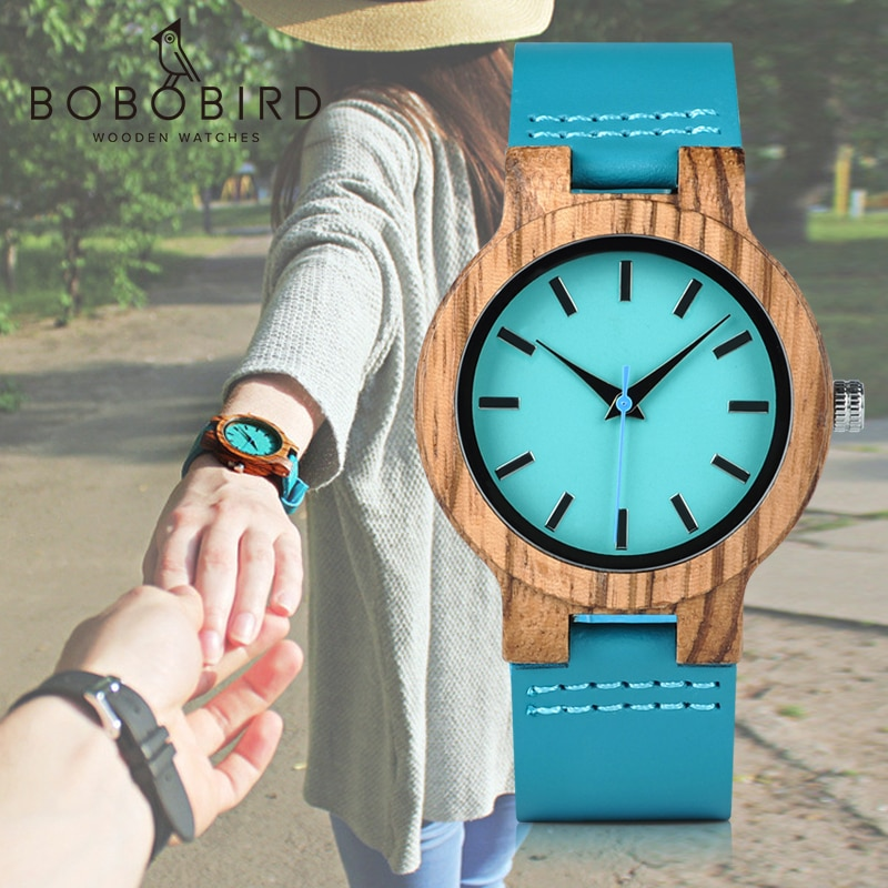 BOBO BIRD Classic Zebra Wood Watch For Men Women Indigo Blue Design Quartz Watch Two Optiom Case Size 33mm and 45mm