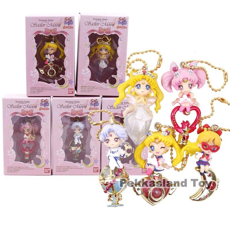 Muñeca en miniatura marinero Luna 25th aniversario Tsukino Usagi marinero serenidad V Chibi EE. UU. Helios figuras de PVC de juguete 5 unids/set