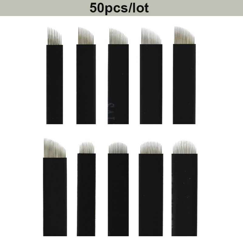 50 Uds. Agujas de Microblading Black Flex 0,18mm 7/9/11/12/14/16/18/12U/14U/18U hojas para tatuaje para máquina de tatuaje de cejas Tebroi