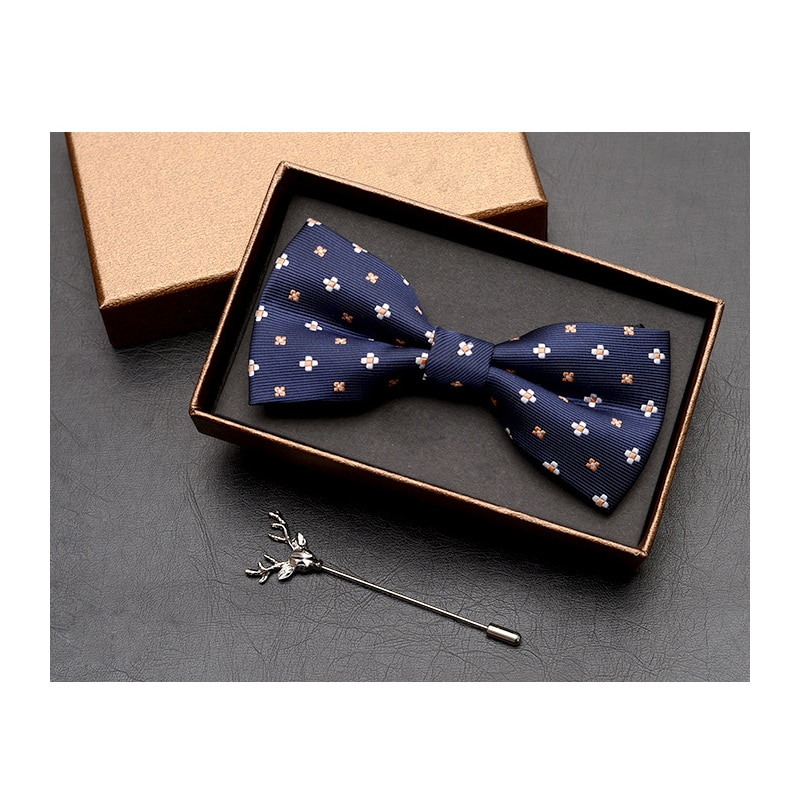 NEW Fashion Solid Color Bowties and Deer Head Brooch Black Blue Red Butterfly Tie Wedding Groom Party Bowtie Cravat Gift Box