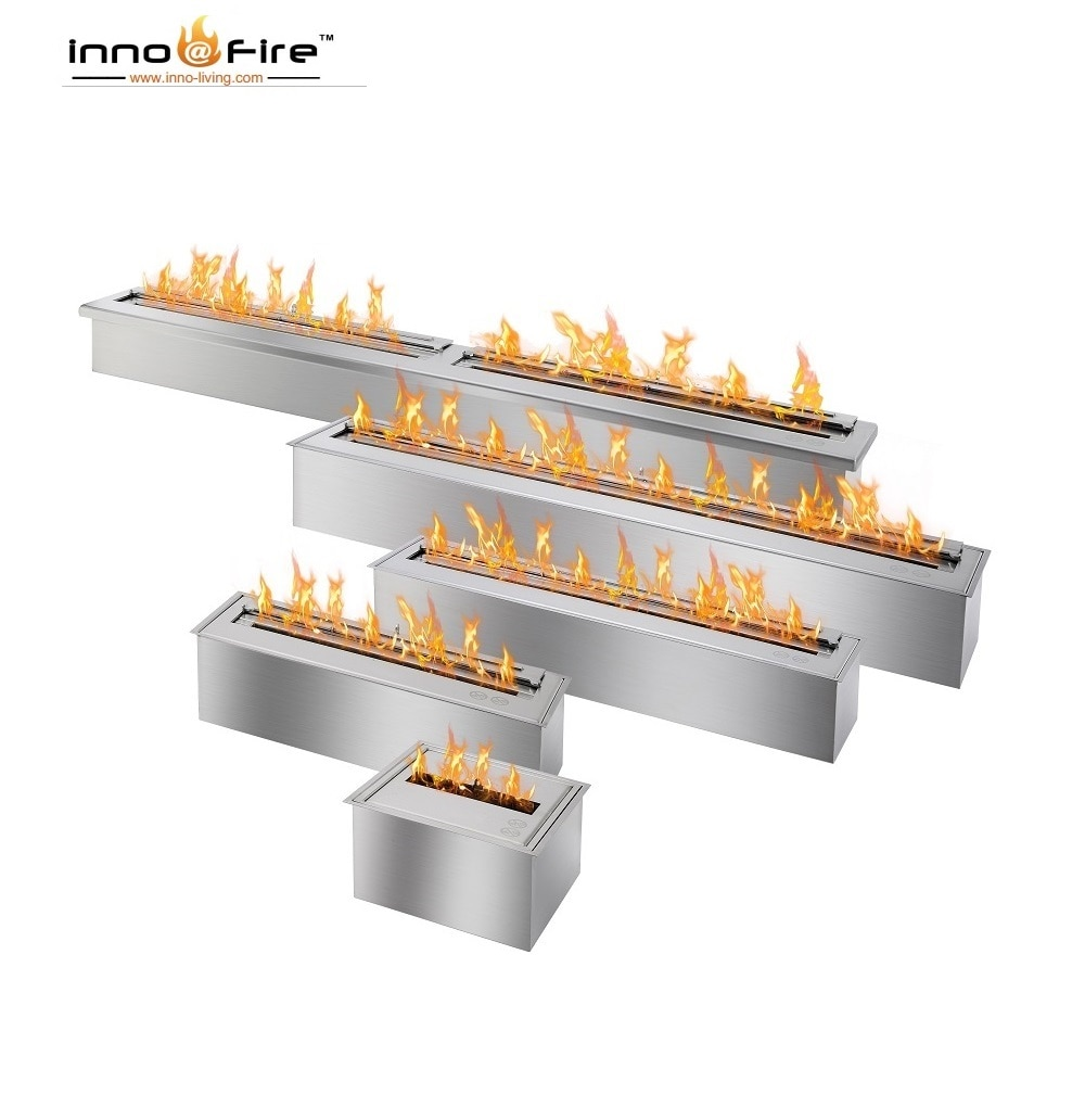 Inno living fire 90cm stainless bio ethanol fireplace vented single burner
