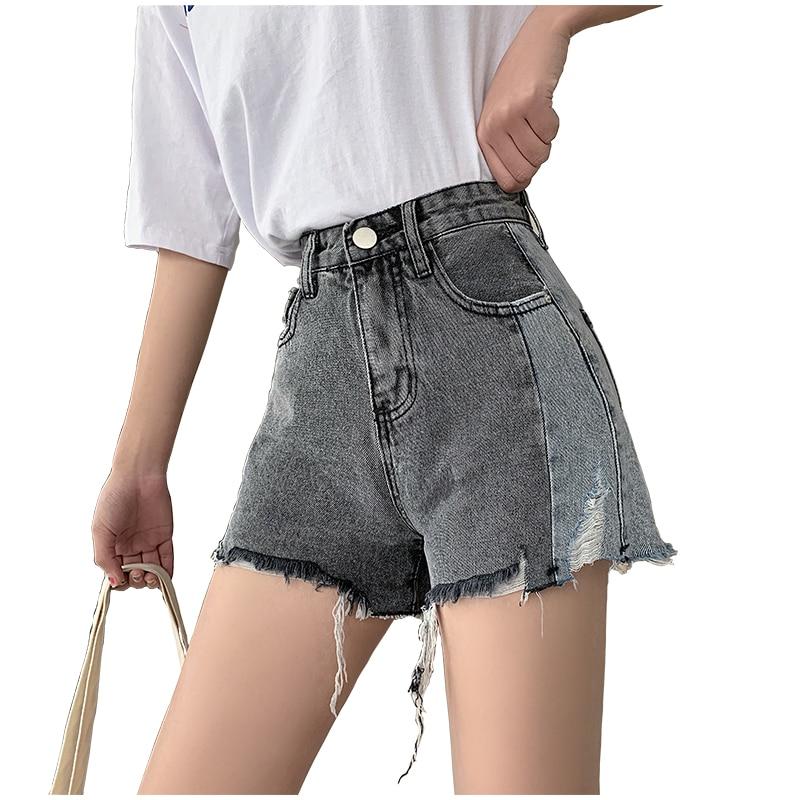 Summer Shorts Women Black And Blue Stitching Denim Shorts 2019 Streetwear Fashion Tassel Ripped High Waisted Short Jeans