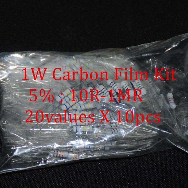 200 pces resistor kit 1 w watt 20 valores x 10pcs resistencias resistência pacote filme carbono resistência 10-1mohm ohms 1-w filme de carbono conjunto