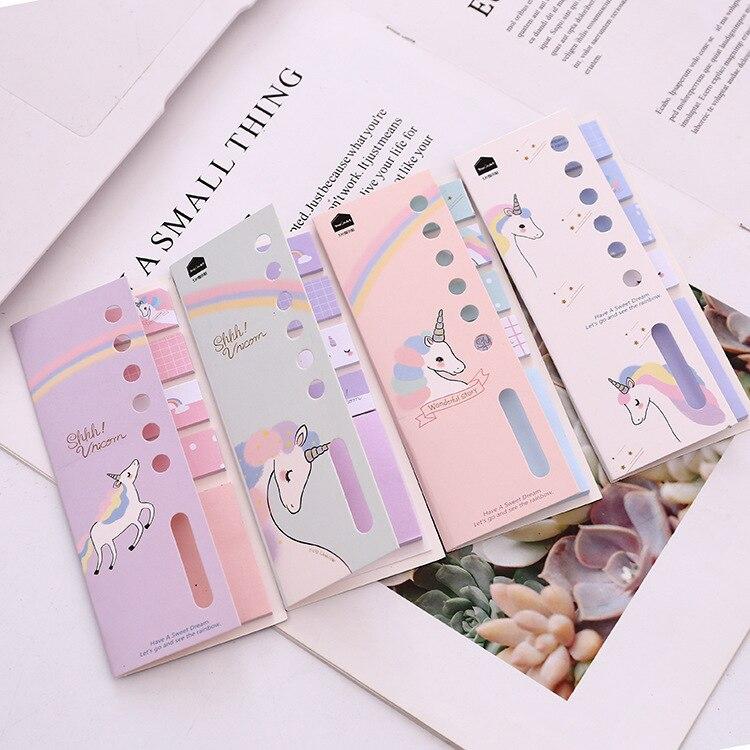 Kawaii dibujo unicornio arcoíris notas recordatorias adhesivas diario escamas papelería álbum de recortes decorativo lindo N veces pegajoso