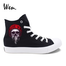 Wen Original Casual Shoes Design Zombie Skull Series Pattern Black White Canvas Women Men Sneakers High Top Laced Plimsolls