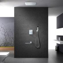 Pomme de douche de bain-douche acier inoxydable   Mitigeur de bain-douche en acier inoxydable de 12 pouces, douche de pluie, robinet de salle de bains thermostatique HIDEEP