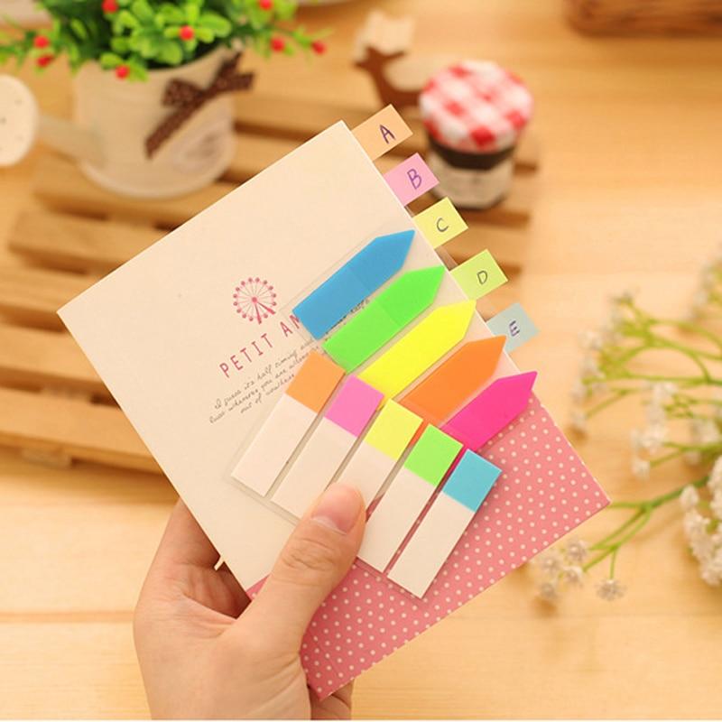 Notes autocollantes créatives   Autocollant en papier pour bloc-Notes Index de catégorie de fluorescence, Transparent, indique les stickers muraux pour réfrigérateur
