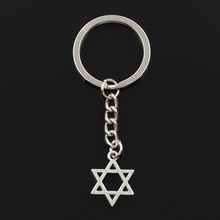 New Fashion Keychain 21x16mm Star Of David Shield Pendants DIY Men Jewelry Car Key Chain Ring Holder Souvenir For Gift