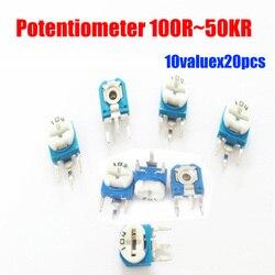 Frete grátis 10valuesx20pcs = 200 pcs 100R ~ 5KR corte potenciômetros / resistores variável ajustável