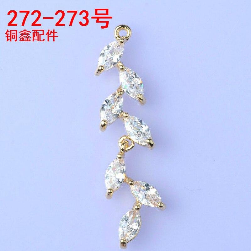 20 stücke 9*34mm Gold/Silber Farbe Zirkon Blatt Zweig Form Charme Anhänger für DIY Handgemachte Mode schmuck Machen großhandel