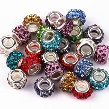 Perles de charmes de grand trou de couleur de mélange de 12mm avec le Bracelet de idéal pour bijoux de strass pour des bijoux faits à la main 50 Pcs/lot