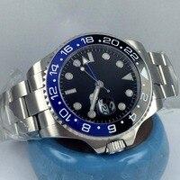 43mm bliger black dial GMT Blue & black ceramic bezel sapphire crystal automatic mens watch P7
