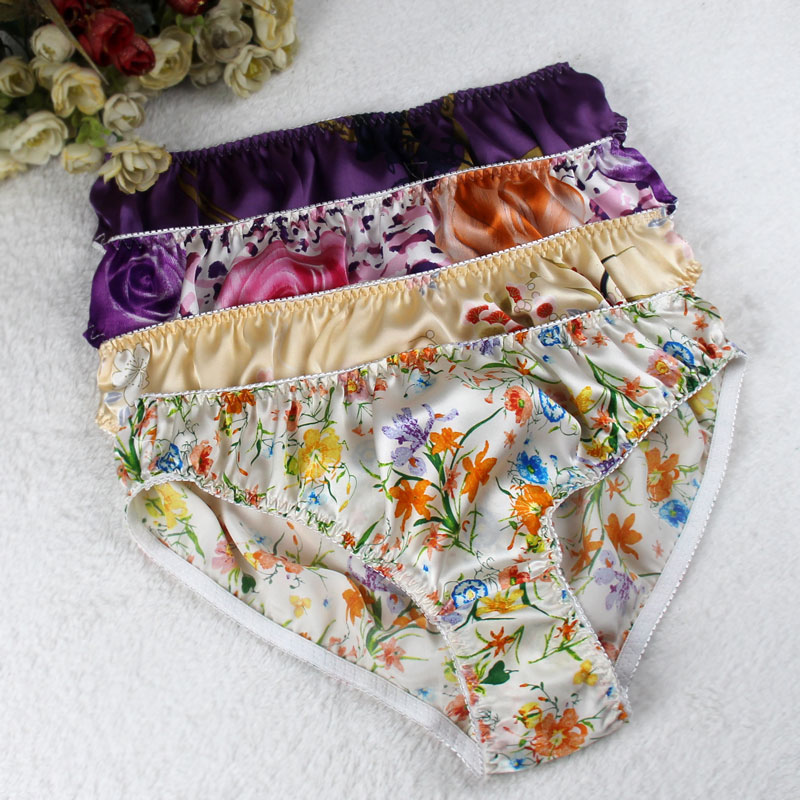 سراويل داخلية حريرية كريب ساتان ، مقاس كبير ، سراويل داخلية رفيعة ، مسامية ، متوسطة الخصر ، للنساء